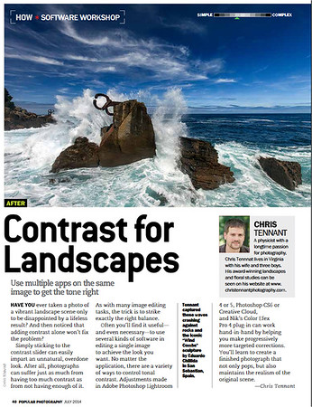 "My tutorial on adding contrast in landscape images appeared as a ""Software Workshop"" article in the July 2014 issue of ""Popular Photography""."