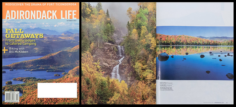 "The October 2012 issue of ""Adirondack Life"" featured my photograph of Cascade Falls in their gallery of seasonal images."