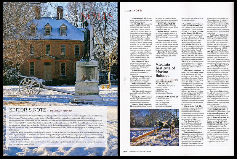 These winter shots were featured in the W&M Alumni magazine.
