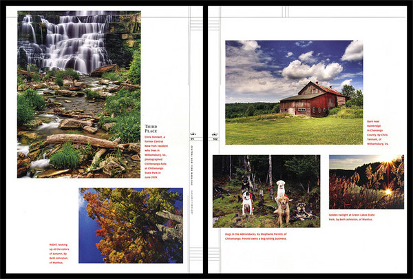 Results of <I>Central New York</I> magazine's 2<sup>nd</sup> Annual Photo Contest were published in the January/February 2010 issue. My photo of Chittenango Falls placed third (upper left). One of my barn photos was also chosen for printing (upper right).
