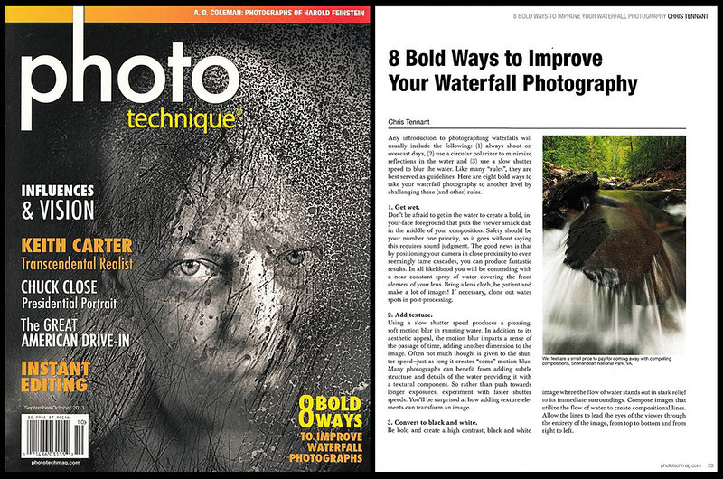 "My article titled ""10 Bold Ways to Improve Your Waterfall Photography"" published in ""Photo Technique"" magazine (2013)."