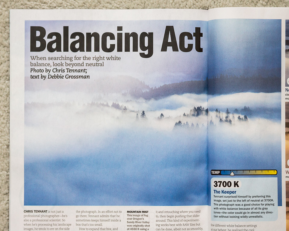 "The January 2016 issue of ""Popular Photography"" featured an image I took in Oregon for an article highlighting the effect the choice of white balance can make."