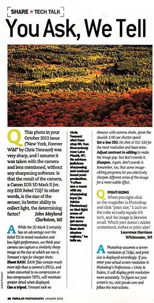 "Follow-up article in the January 2014 issue of ""Popular Photography"" about one of the photographs published in the Adirondack feature article."