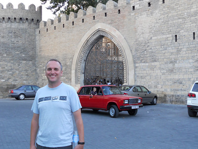 The old town walls in Baku, plus ubiquitous Lada,