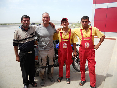 More friendly gas station guys who gave us chai and cake!