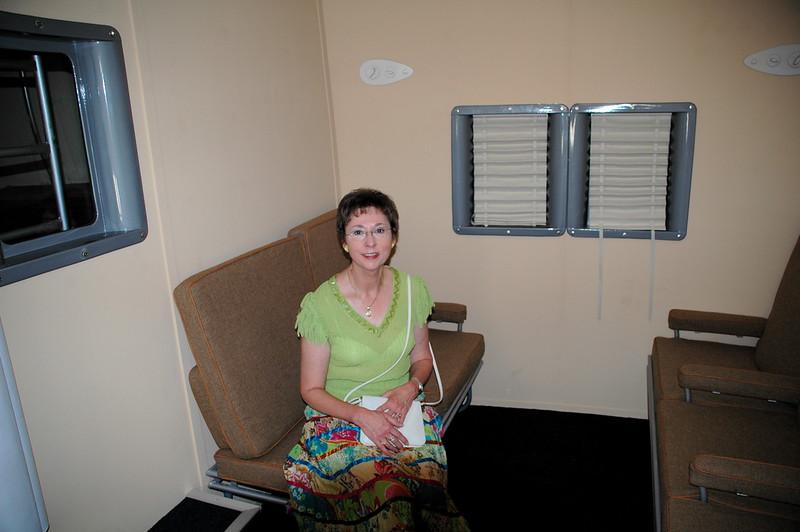DSC_3165.JPG <br /> Museum supporter, Arlene Brown, in B-314 Cabin