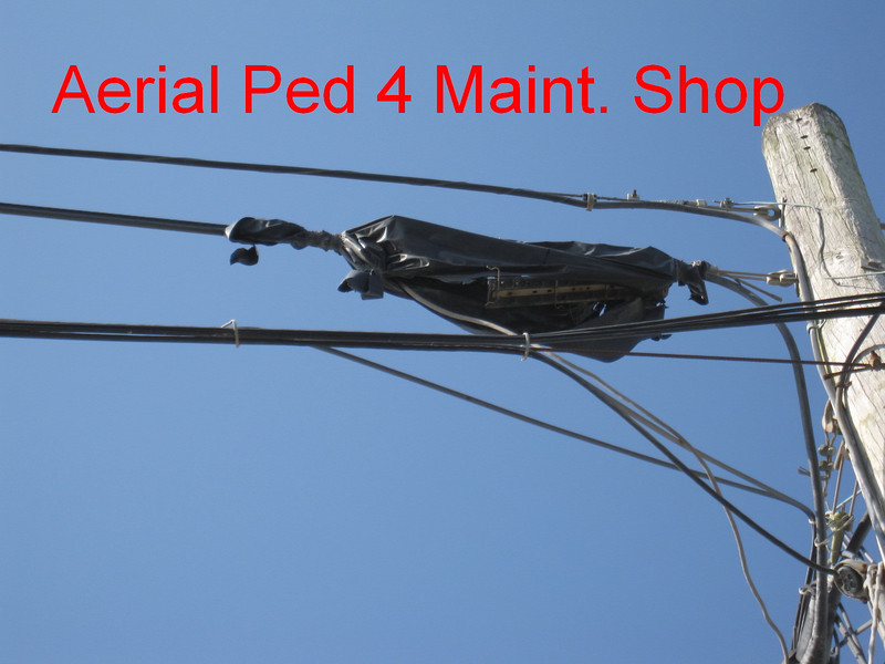 Aerial splice at Ped 4 (Cat. Maint. Shop)