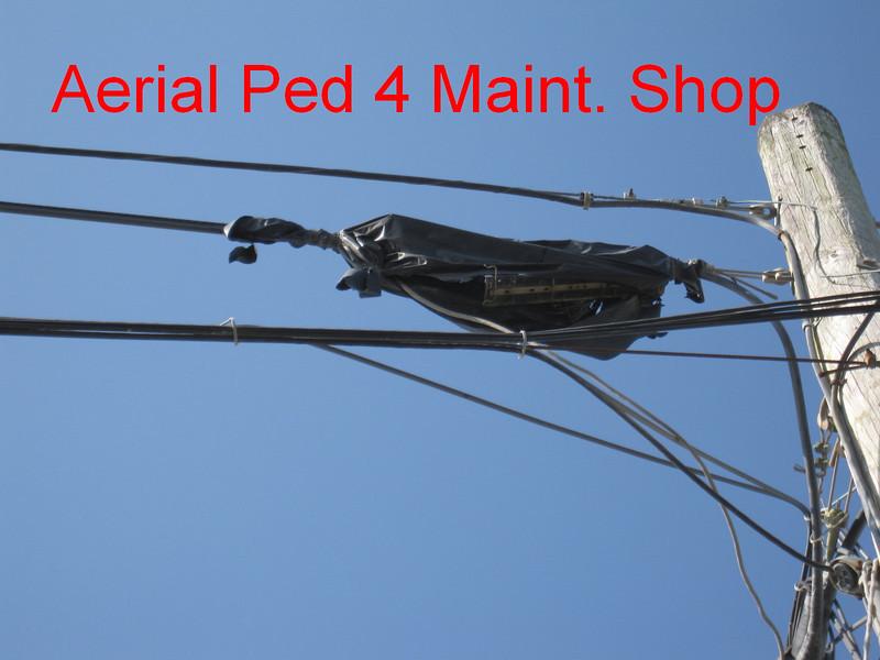 Aerial splice at Ped 4 (Cat. Maint. Shop)