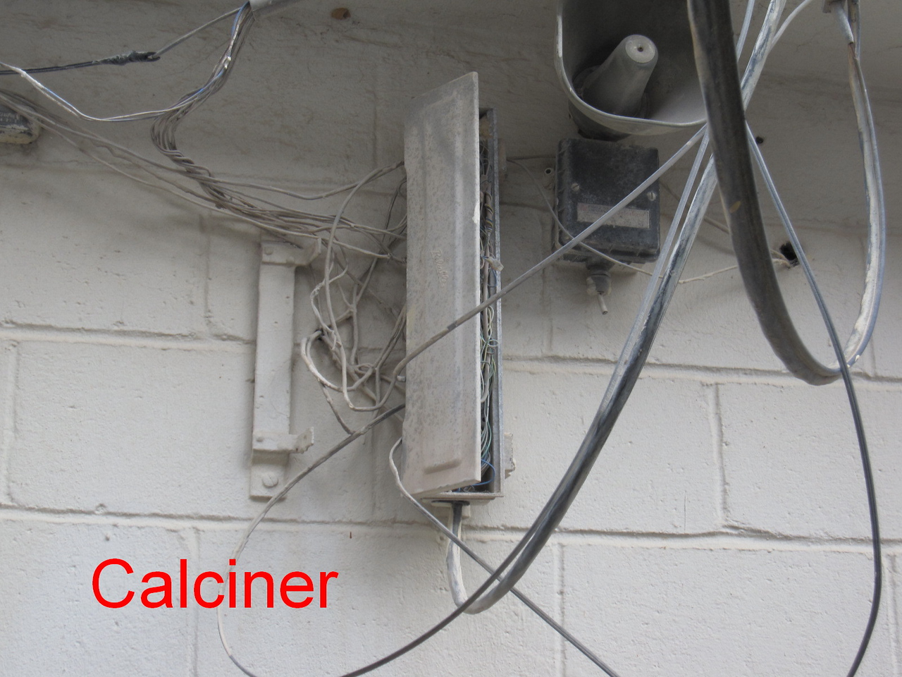 Calciner Before showing box on outside of building