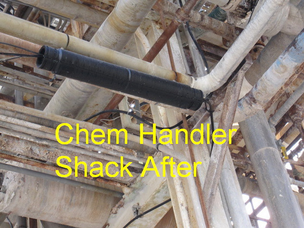 Chemical Handler Shack  --  Contractor replaced splice box with correct aerial container.