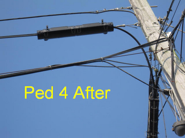 Ped 4 aerial -- Contractor replaced splice box with correct aerial container.