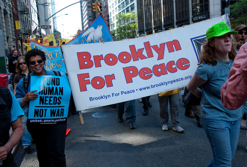 Say it loud! We're from Brooklyn and we want peace now!