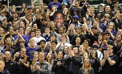 The Bloomfield Hills student section cheers on the Black Hawks during their Class A state championship game against Muskegon Saturday at the Breslin Center in East Lansing. (Photo gallery by Ken Swart for The Oakland Press)