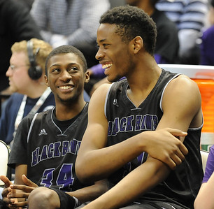 Bloomfield Hills' Yante Maten (R) and Armand Cartwright (L) share a laugh during their Class A state championship game against Muskegon Saturday at the Breslin Center in East Lansing. (Photo gallery by Ken Swart for The Oakland Press)