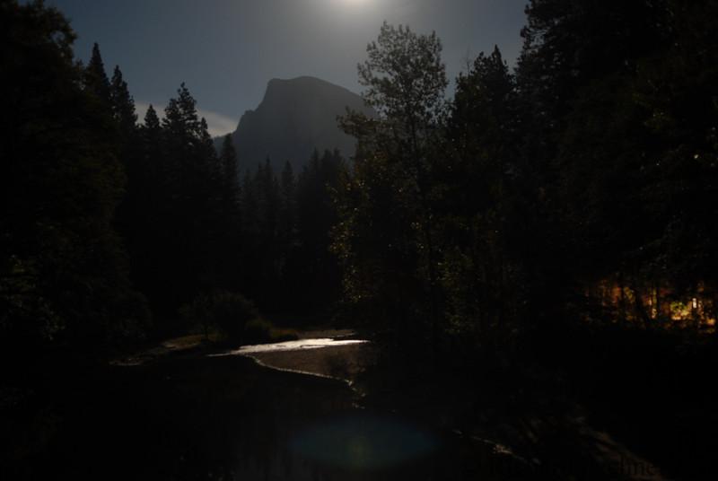 Moon lit Half Dome from Sentinel Bridge, 30 second exposure