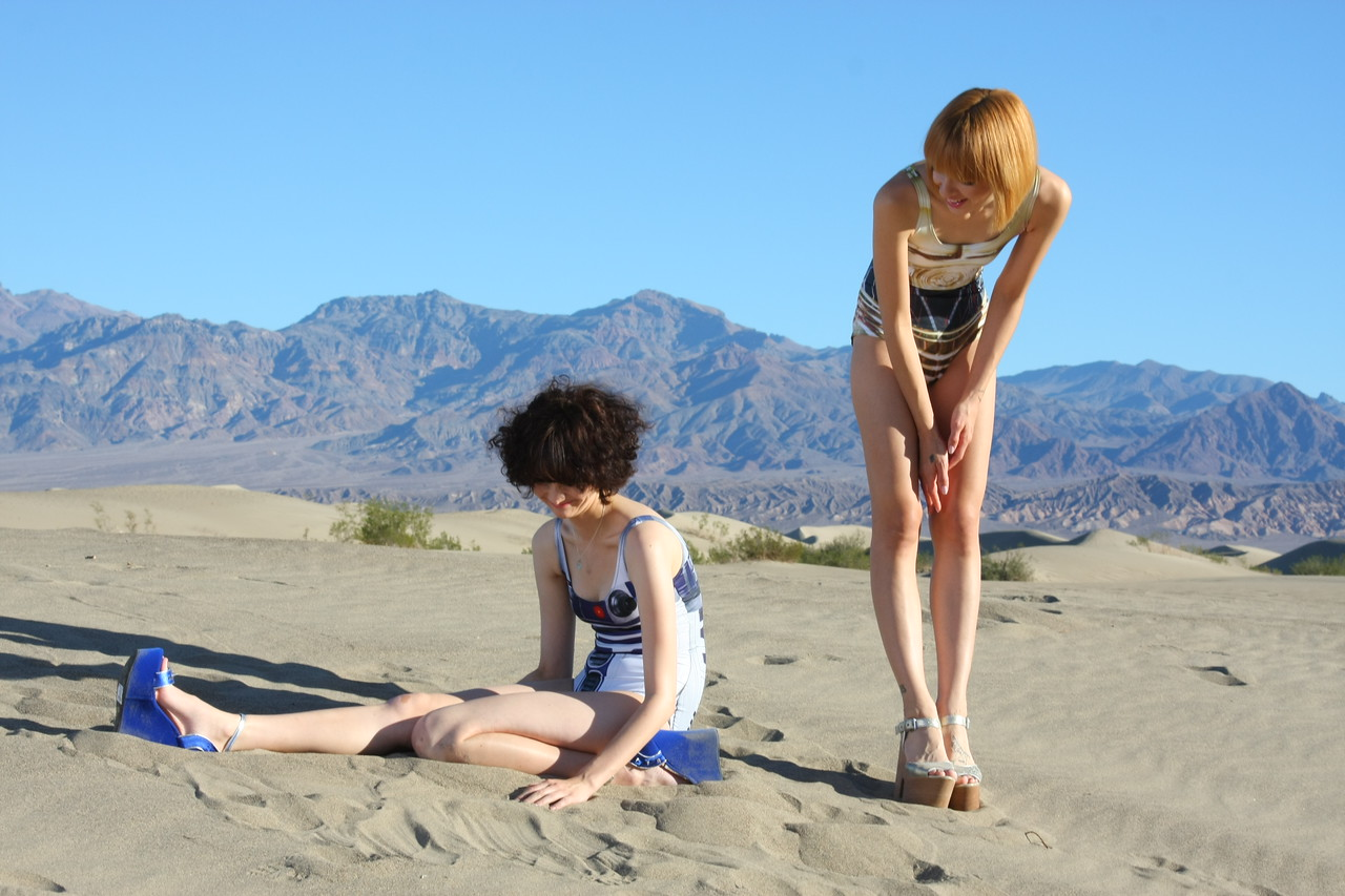 Sand dunes are tough enough, but trying to pose on them with high heels and wedges is downright challenging! - Stovepipe Wells dunes, Death Valley National Park