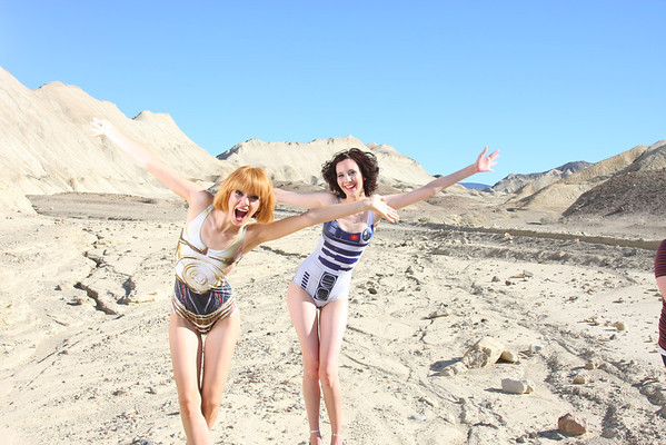 Shelby and Sophia hamming it up - Twenty Mule Team Canyon, Death Valley National Park