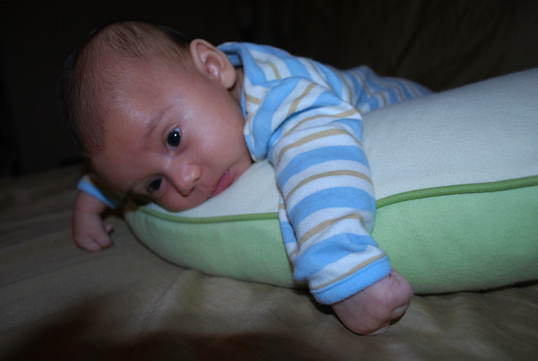 Baby Henry's First Tummy Time on Boppy