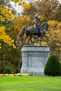the statue in Boston Garden stands infront of a tree in the throws of fall.