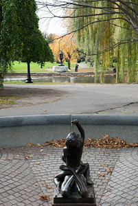 in preparation of winter the fountains in Boston Garden are already emptied.