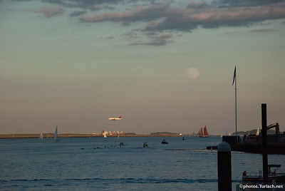 harbor, plane & moon