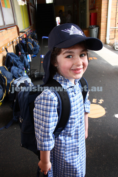29/1/10. First day of school 2010. Prep class. Beth Rivkah Ladies College. Avital Caplan. Photo: Peter Haskin