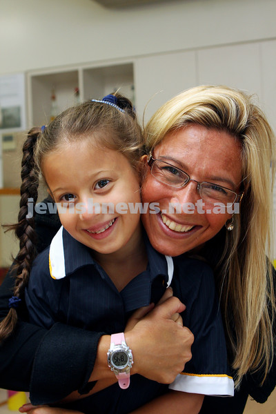 1st day of school 2010. Bialik College, Grade 1. First day wearing school uniform. Jade Stern (left), Carolyn Jagoda. Photo: Peter Haskin