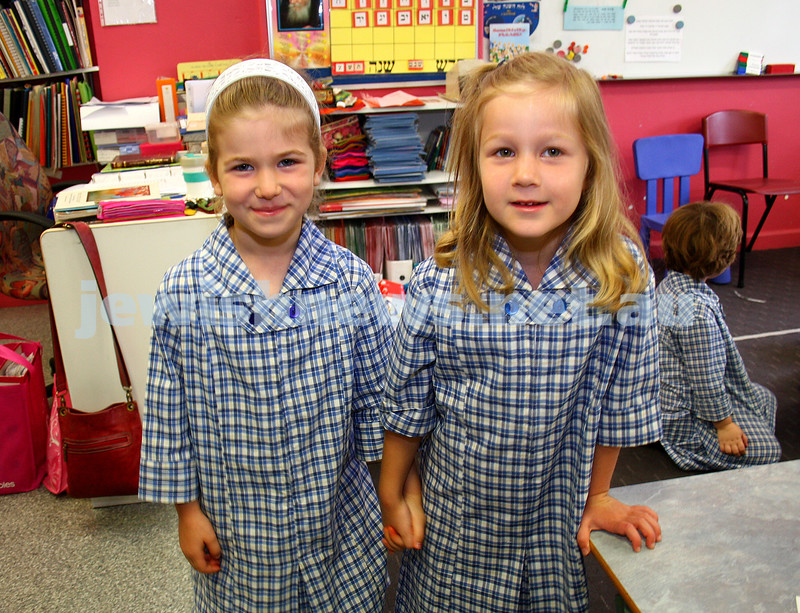 29/1/10. First day of school 2010. Prep class. Beth Rivkah Ladies College. Menucha Amzalak (left),  Dalia Mirochnik. Photo: Peter Haskin