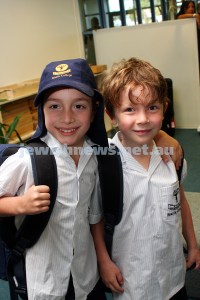 1st day of school 2010. Bialik College, Grade 1. First day wearing school uniform. Daniel Super (left), Ben Kuperholz. Photo: Peter Haskin