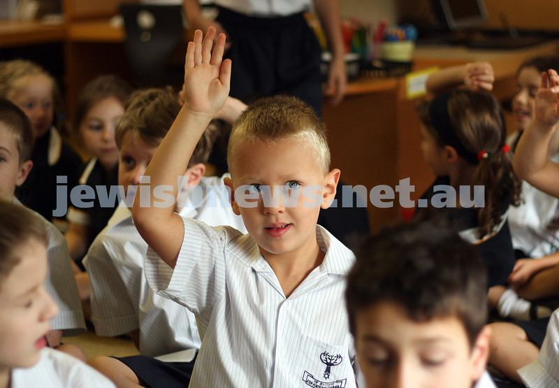 1st day of school 2010. Bialik College, Grade 1. First day wearing school uniform. Joshua Rosenbaum. Photo: Peter Haskin