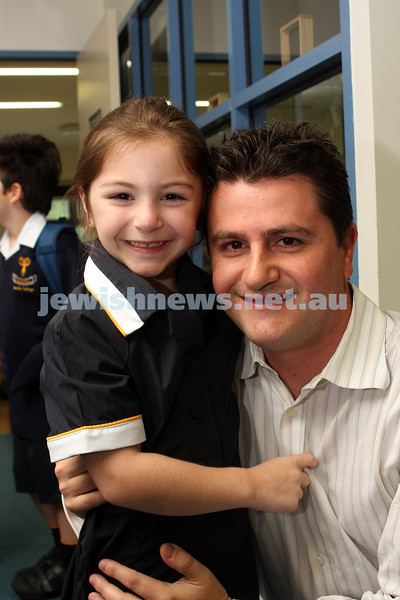 1st day of school 2010. Bialik College, Grade 1. First day wearing school uniform. Elle and Michael Amira. Photo: Peter Haskin