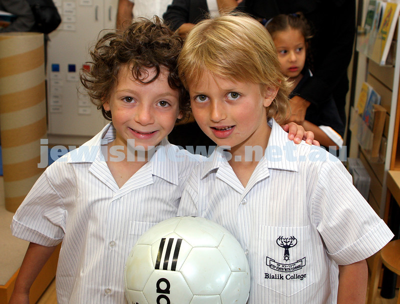 1st day of school 2010. Bialik College, Grade 1. First day wearing school uniform. Brett Jacobs (left), Nicolas Hershan.  Photo: Peter Haskin