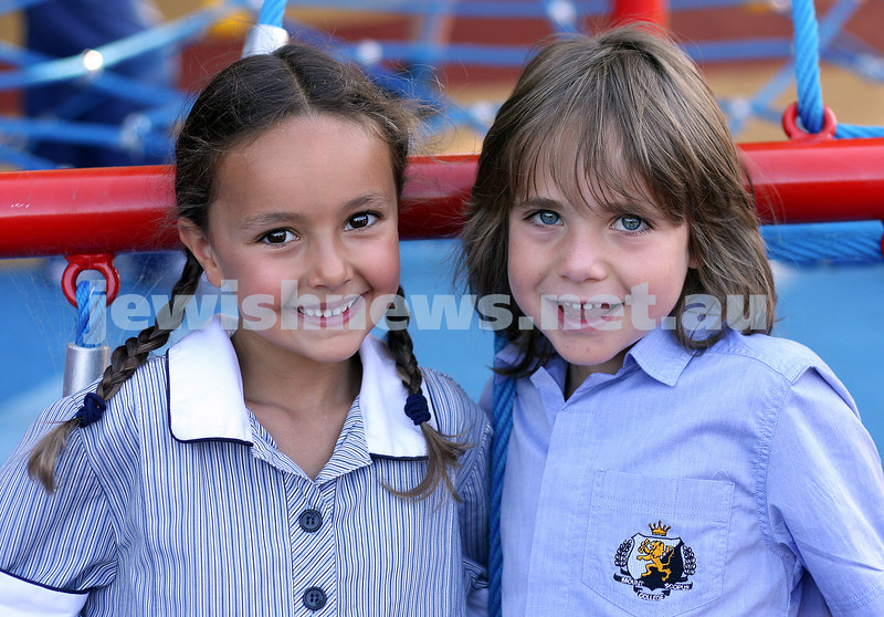 First day of school 2011. Gandel Besen House. Sienna Klooger, Ezra Liberman. Photo: Peter Haskin