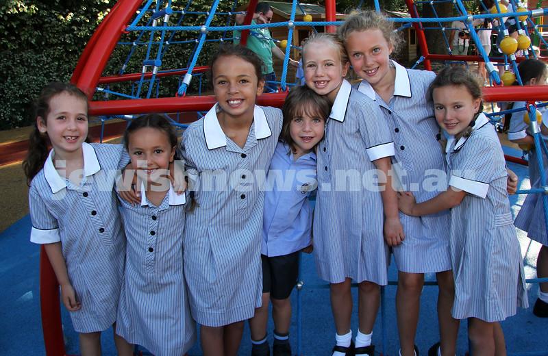 First day of school 2011. Gandel Besen House. From left: Amber Kausman, Sienna Klooger, Jade Kausman, Ezra and Sassi Liberman, Amy and Romy Klooger. Photo: Peter Haskin