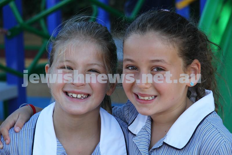 First day of school 2011. Gandel Besen House. Zoe Smorgon (left), Abby Slonim. Photo: Peter Haskin