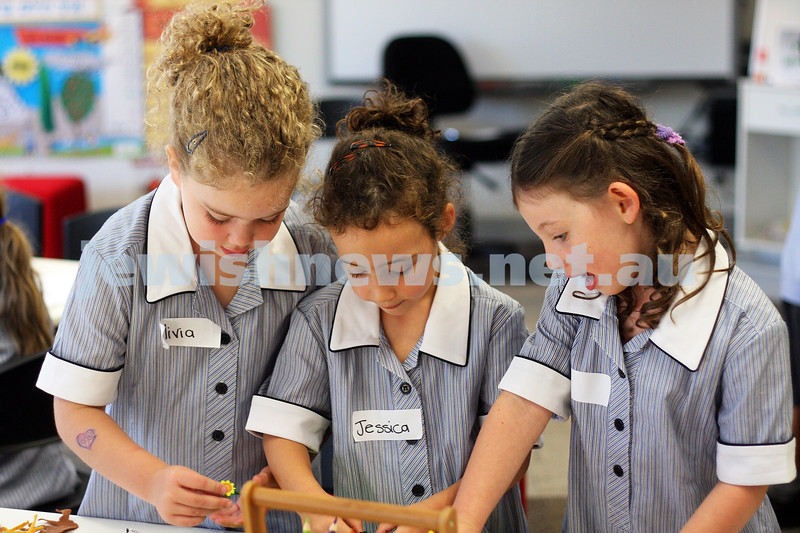 First day of school 2011. Gandel Besen House. From left: Olivia Marton, Jessica Block and Tia Rotstein. Photo: Peter Haskin