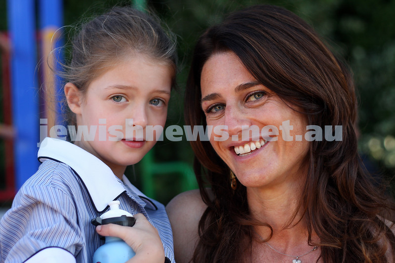 First day of school 2011. Gandel Besen House. Georgia Szer(left) and her mum Monique. Photo: Peter Haskin