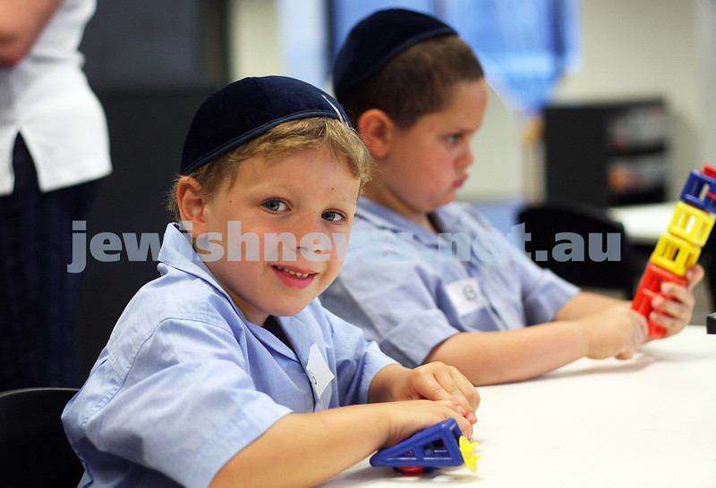 First day of school 2011. Gandel Besen House. Travis Smithson (left), Ethan Belnik. Photo: Peter Haskin