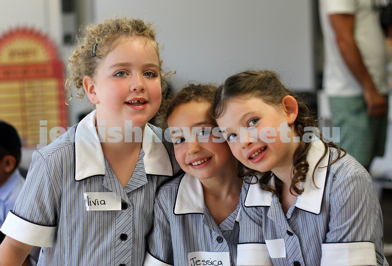 First day of school 2011. Gandel Besen House. From left: Olivia Marton, Jessica Block and Tia Rotstein. . Photo: Peter Haskin