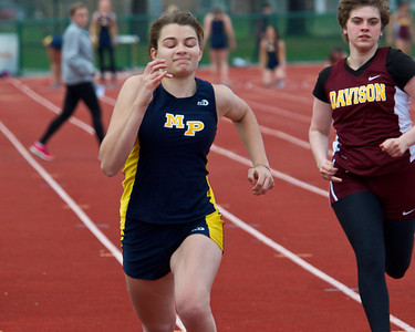 Skip Traynor - Special to the Sun Mt. Pleasant's Brooke Mazure has a strong finish in the 100-meter dash during Mt. Pleasant's home meet against Davison and Saginaw Tuesday, April 29, 2014.