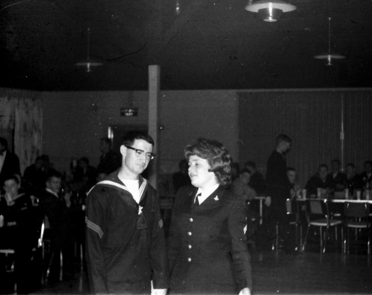 Photos courtesy of Spanish Petty Officer Manuel Borja, who trained at USNTC BAINBRIDGE from 1963 to 1964, attending Fire Control School.<br /> <br /> Spanish Petty Officer Manuel Borja with WAVE friend.
