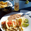 first meal in San Felipe, Sol cerveza and tacos pescado (fish) for breakfast. Hey, it's a vacation!