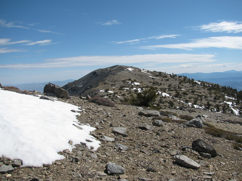 on top of West Baldy, looking back at Mount Baldy