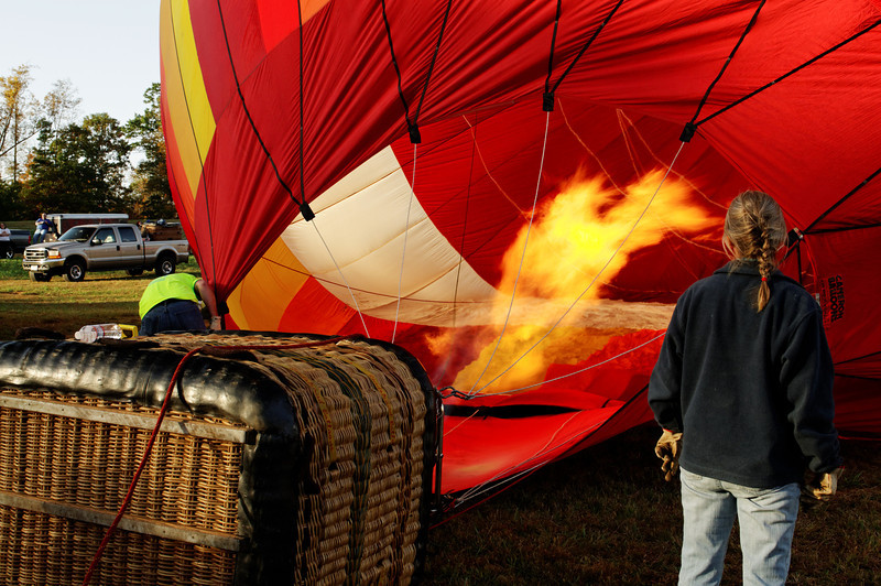 Bringing the Heat -- Propane flame provides heat to lift the balloon