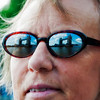 Sue Marrion with the Tower Bridge reflected in her glasses.