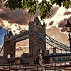 """Dolphin statue in front of Tower Bridge, London. Topaz Adjust """"Spicify"""" filter applied to this photograph."""
