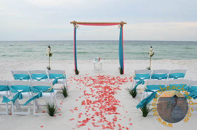 Coral and Turquoise Fabric, Turquoise Chair Sashes, Coral Rose Petals