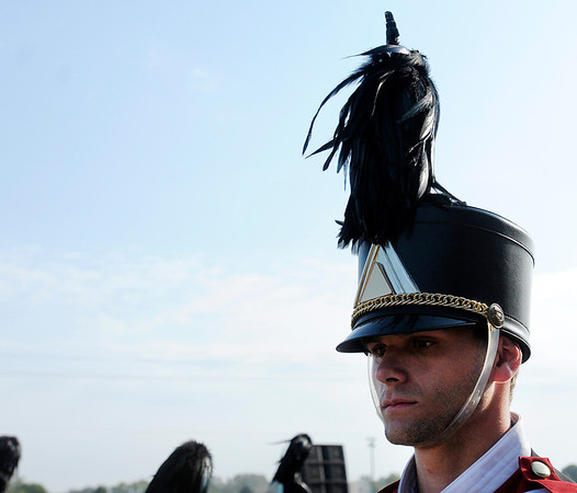 Joseph Reed gathers his thoughts as the Marching Eagles wait to perform.