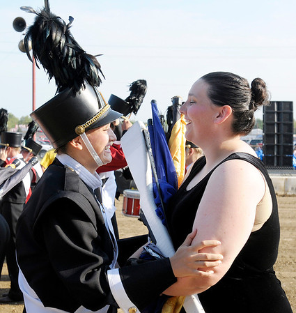 Drum major Hannah Showalter and Sammantha Burris share their excitement in the moments leading up to their performance.