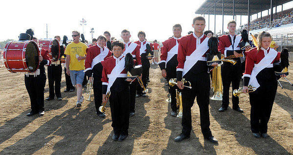 The Marching Eagles wait for their turn to perform.